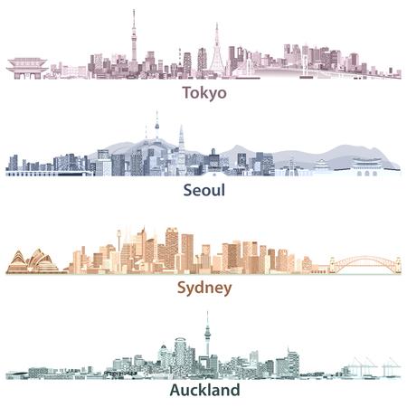 Illustrationen der Skylines von Tokio, Seoul, Sydney und Auckland