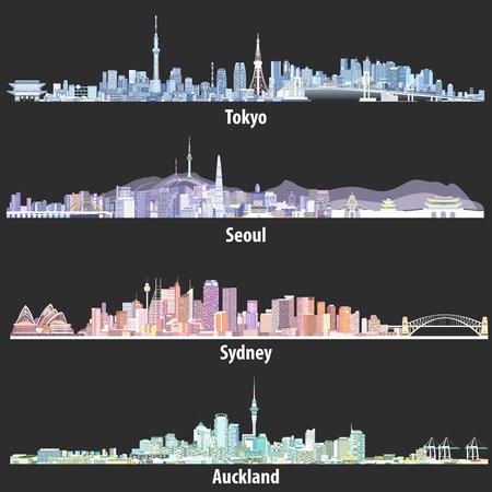 Illustrationen der Skylines von Tokio, Seoul, Sydney und Auckland bei Nacht Vektorgrafik