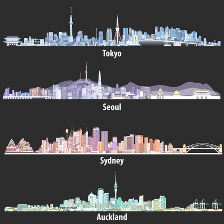 illustrations of Tokyo, Seoul, Sydney and Auckland skylines at night Illustration
