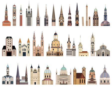 vector collection of high detailed isolated city halls, landmarks, cathedrals, temples, churches, palaces and other city's skyline architectural elements