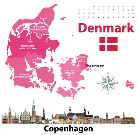 Denmark map and flag with Copenhagen city skyline. Vector illustration Иллюстрация