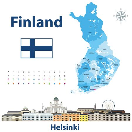 vector regions of Finland Helsinki cityscape Иллюстрация