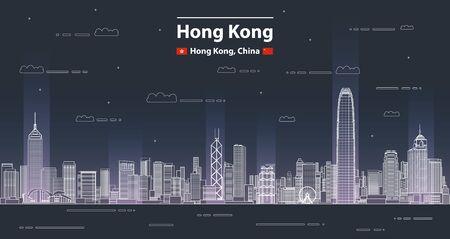 Hong Kong-Stadtbild-Linie Kunstart-Vektor-detaillierte Illustration. Reisehintergrund