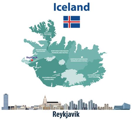 Iceland map with reykjavik city skyline. Vector illustration