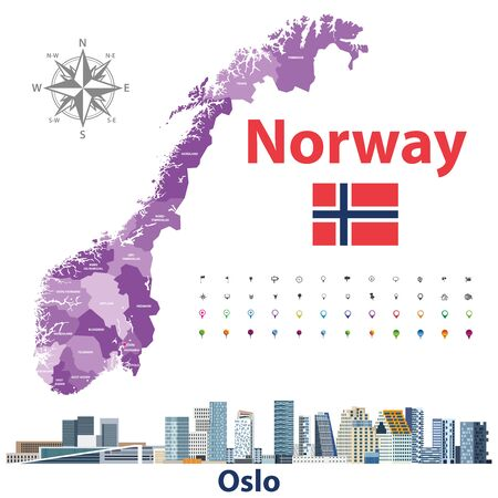 Norway administrative divisions of Oslo. Location and navigation icons. Vector illustration