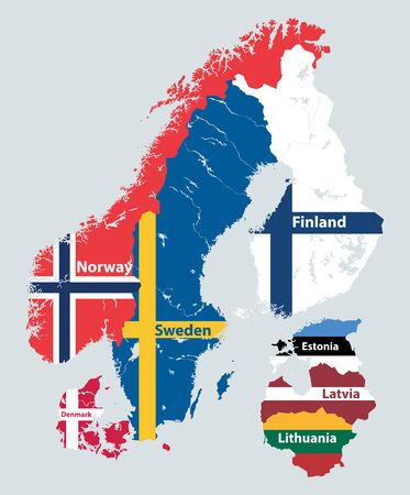 Scandinavian and Baltic regions countries political detailed map. Vector illustration Ilustração