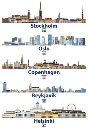 Skylines der Städte Stockholm, Oslo, Kopenhagen, Reykjavik und Helsinki mit Flaggen von Schweden, Norwegen, Island und Finnland