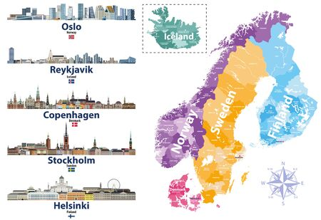 Scandinavian countries map with capital cities skylines icons. Vector illustration Illustration