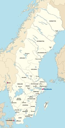 Sweden counties map on it. All layers detachable and labelled. Vector illustration