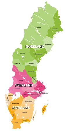 The lands of Sweden vector map. Three traditional parts of Sweden