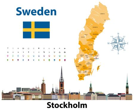 Vector illustration of Sweden counties map with Stockholm city skyline