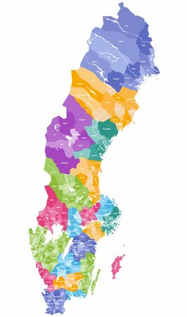 vector colorful map of Sweden municipalities Ilustração