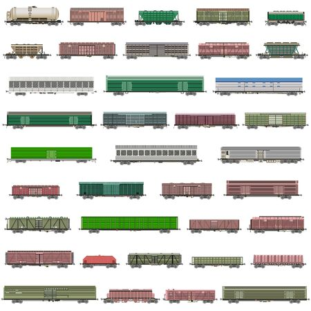 vector set of isolated railway trains, railcars, waggons, van