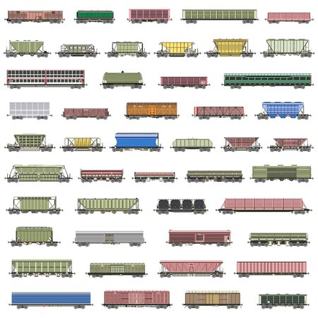 vector set of isolated railway trains, railcars, waggons, vans