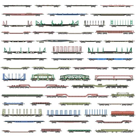vector set of isolated deatiled icons of  railway trains, railcars, waggons and vans