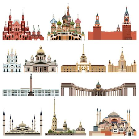 vector collection high detailed isolated city halls, landmarks, cathedrals, temples, churches, palaces and other skyline architectural elements Stockfoto - 129115648