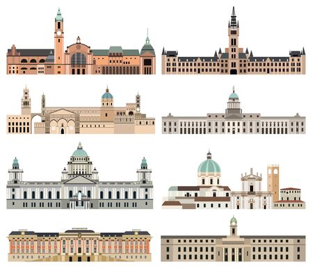 kolekcja wektorów szczegółowe izolowane ratusze miejskie, punkty orientacyjne, katedry, świątynie, kościoły, pałace i inne elementy architektoniczne panoramy