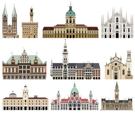 Colección de vectores de ayuntamientos, monumentos, catedrales, templos, iglesias, palacios y otros elementos arquitectónicos del horizonte de la ciudad. Ilustración de vector