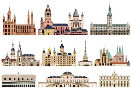 vector collection of high detailed isolated city halls, landmarks, cathedrals, temples, churches, palaces and other citys skyline architectural elements