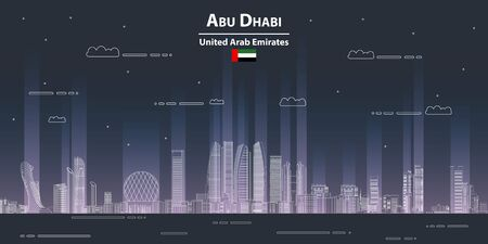 Abu dhabi cityscape line art style detailed vector illustration 일러스트