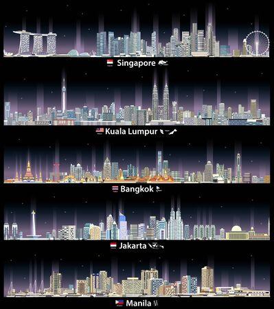 illustrazione vettoriale di paesaggi urbani notturni di Singapore, Kuala Lumpur, Bangkok, Jakarta e Manila Vettoriali