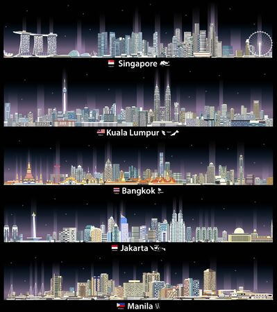 vector illustration of Singapore, Kuala Lumpur, Bangkok, Jakarta and Manila cityscapes at night