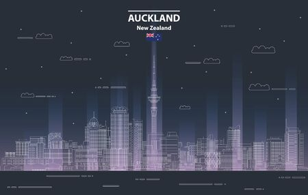 Auckland cityscape at night line art style vector illustration