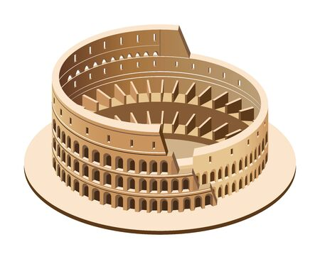 Vektor isometrische 3D-Darstellung des Kolosseums (Kolosseum) in Rom, Italien