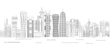 Doha cityscape line art style detailed vector illustration