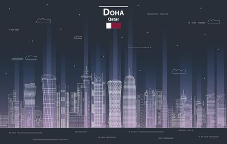 Doha cityscape at night line art style detailed vector illustration Banque d'images - 132659784