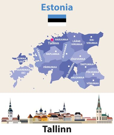 Estonia regions map with Tallinn city skyline. Vector illustration Stockfoto - 132659822