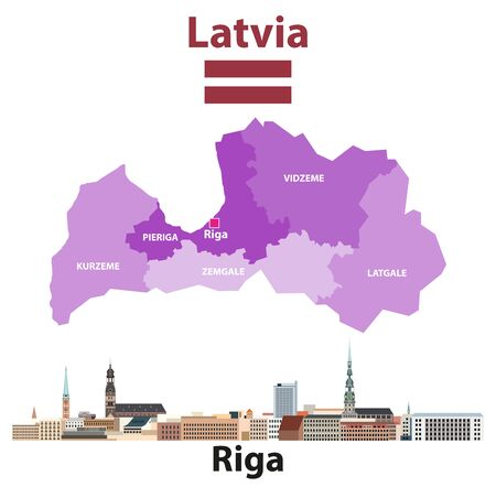 Vector map of Latvia regions with Riga city skyline