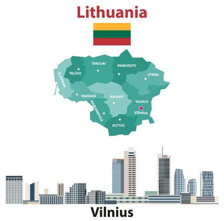 Lithuania regions map and flag. Vilnius city skyline. Vector illustration