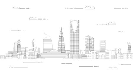 Vector travel background poster with Riyadh city line art style outline illustration