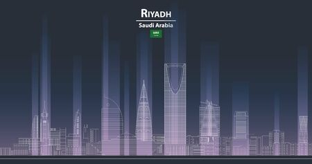 Riyadh cityscape at night line art style detailed vector illustration
