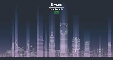 Riyadh cityscape at night line art style detailed vector illustration
