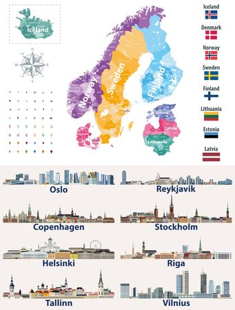 vector Scandinavian and Baltic countries map with flags and cities skylines: Copenhagen, Stockholm, Oslo, Reykjavik, Helsinki, Riga, Tallinn, Vilnius.