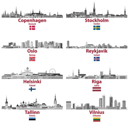 vector set of Baltic and Scandinavian countries cities skylines: Copenhagen, Stockholm, Oslo, Reykjavik, Helsinki, Riga, Tallinn, Vilnius.