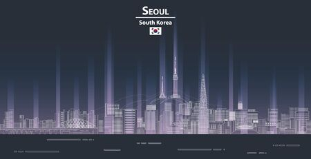 Seoul cityscape at night line art style detailed vector illustration