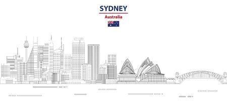 Sydney cityscape line art style vector illustration