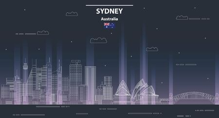 Sydney cityscape at night line art style vector illustration
