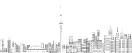 Toronto cityscape line art style detailed vector illustration