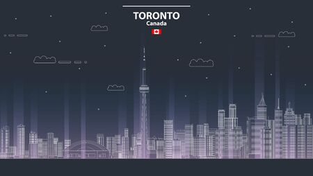 vector line art style illustration of Toronto cityscape at night