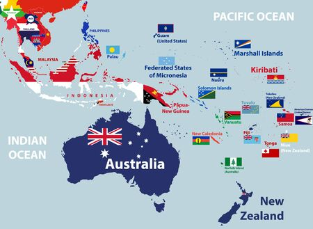 vector map of Australia, Oceania and South East Asian countries mixed with their national flags