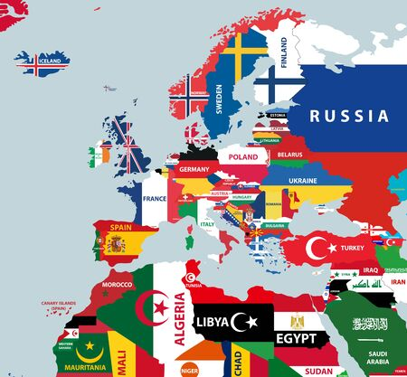vector part of world map with region of european and north african countries mixed with their national flags 일러스트