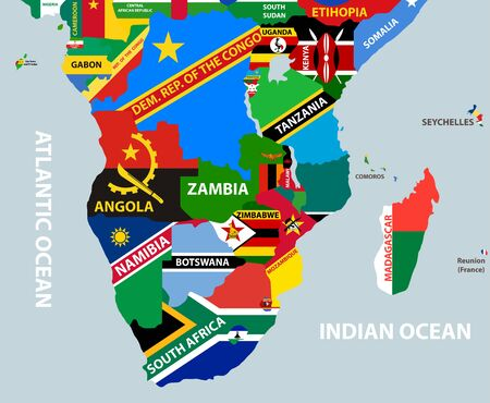 vector part of world map with region of south african countries mixed with their national flags