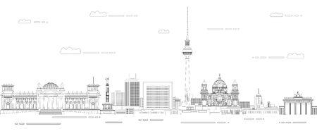 Berlin cityscape line art style vector poster illustration. Travel background Stock Illustratie