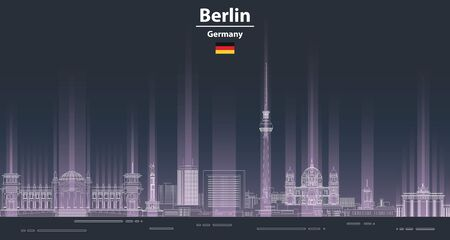 Berlin cityscape at night line art style vector poster illustration. Travel background