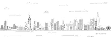 Chicago cityscape line art style vector poster illustration. Travel background Stock Illustratie
