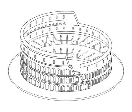 Vector 3d isometric line art style illustration of Colosseum (Coliseum) in Rome, Italy